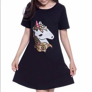 Unicorn Sequined Black Girls Dress